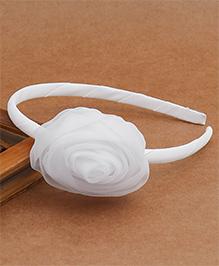Babyhug Hair Band With Rose Motif - White