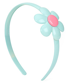 Babyhug Plastic Hair Band With Flower Motif - Teal Blue