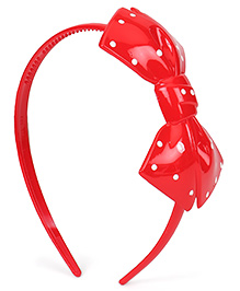 Babyhug Plastic Hair Band With Bow Motif - Red