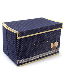Storage Box Dot Print With Lace And Bow Applique - Navy Blue