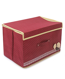Storage Box Dot Print With Lace And Bow Applique - Maroon