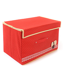 Storage Box Dot Print With Lace And Bow Applique - Orange