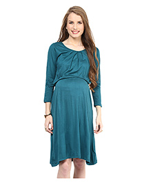 Mamacouture Three Fourth Sleeves Maternity Dress - Sea Green