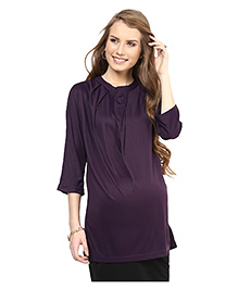 Mamacouture Three Fourth Sleeves Maternity Top - Violet