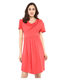 Mamacouture Half Sleeves Maternity Dress - Red