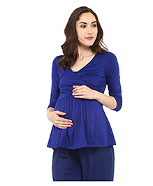Mamacouture Three Fourth Sleeves Maternity Nursing Top - Royal Blue