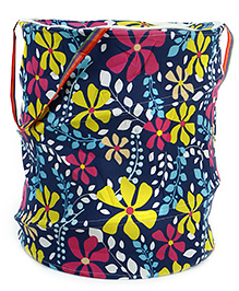 Flower Print Storage Bag With Handles - Multicolor