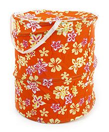 Flower Print Storage Bag With Handles - Orange