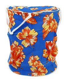 Floral Pattern Storage Bag With Handles - Orange Blue