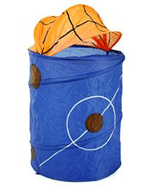 Basket Ball Print Storage Bag - Dark Blue Orange