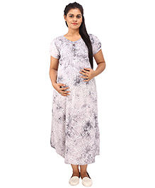 Mamma's Maternity Short Sleeves Dress Floral Print - Grey