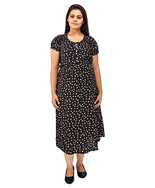 Mamma's Maternity Short Sleeves Dress Floral Print - Black