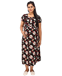 Mamma's Maternity Short Sleeves Dress Printed - Black