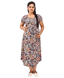 Mamma's Maternity Short Sleeves Dress Floral Printed - Blue