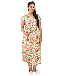 Mamma's Maternity Short Sleeves Dress Floral Print - Multi Color