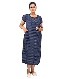 Mamma's Maternity Short Sleeves Dress With Pocket Stars Print - Blue