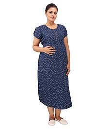 Mamma's Maternity Short Sleeves Dress Anchor Print - Blue