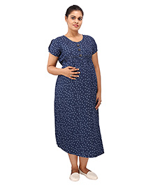 Mamma's Maternity Short Sleeves Dress Anchor Print - Blue