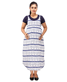 Mamma's Maternity Short Sleeves Dress Printed - Blue White