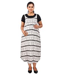 Mamma's Maternity Short Sleeves Dress Printed - Black White
