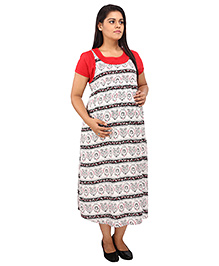 Mamma's Maternity Short Sleeves Dress Printed - Red White