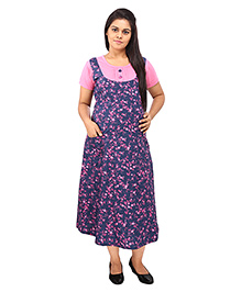 Mamma's Maternity Short Sleeves Maternity Dress With Pocket Floral Print - Blue Pink