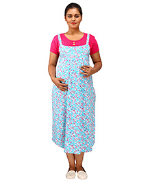 Mamma's Maternity Short Sleeves Dress With Pocket Floral Print - Sky Blue Pink