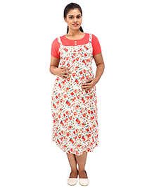 Mamma's Maternity Short Sleeves Dress With Pocket Floral Print -  Off White Peach