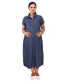 Mamma's Maternity Short Sleeves Dress Multi Print - Blue
