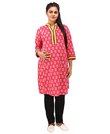 Mamma's Maternity Three Fourth Sleeves Nursing Kurti Floral Print - Pink - 1765944