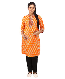 Mamma's Maternity Three Fourth Sleeves Nursing Kurti Floral Print - Orange