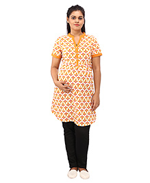 Mamma's Maternity Three Fourth Sleeves Nursing Kurti Leaves Print - Orange