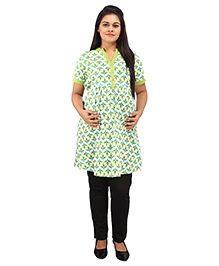 Mamma's Maternity Three Fourth Sleeves Nursing Kurti Leaves Print - Light Green