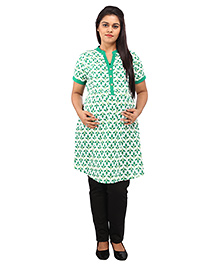 Mamma's Maternity Three Fourth Sleeves Nursing Kurti Leaves Print - Dark Green