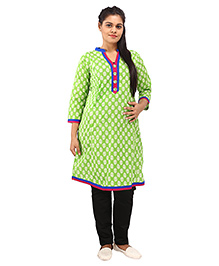 Mamma's Maternity Three Fourth Sleeves Nursing Kurti Floral Print - Green