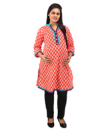 Mamma's Maternity Three Fourth Sleeves Nursing Kurti Floral Print - Red