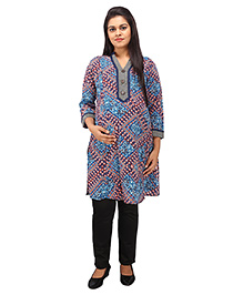 Mamma's Maternity Three Fourth Sleeves Nursing Kurti Multi Print - Navy Blue
