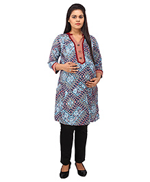 Mamma's Maternity Three Fourth Sleeves Nursing Kurti Multi Print - Maroon Blue