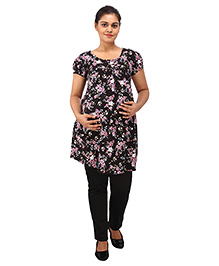 Mamma's Maternity Short Sleeves Nursing Tunic Top - Black - 1766037
