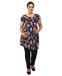 Mamma's Maternity Short Sleeves Nursing Tunic Top - Black