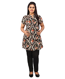 Mamma's Maternity Short Sleeves Nursing Tunic Top - Black