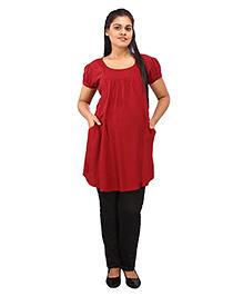 Mamma's Maternity Short Sleeves Nursing Tunic Top - Dark Red