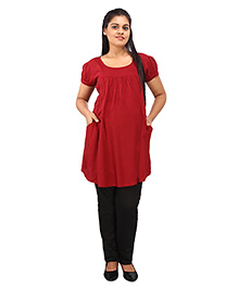 Mamma's Maternity Short Sleeves Nursing Tunic Top - Dark Red