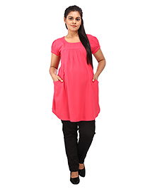 Mamma's Maternity Short Sleeves Nursing Tunic Top - Pink