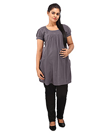 Mamma's Maternity Short Sleeves Nursing Tunic Top - Grey