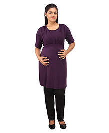 Mamma's Maternity Half Sleeves Nursing Tunic Top - Purple