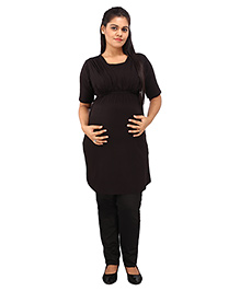 Mamma's Maternity Half Sleeves Nursing Tunic Top - Black