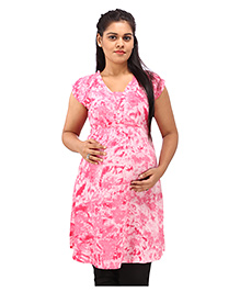Mamma's Maternity Short Sleeves Nursing Tunic Printed - Pink - 1766072