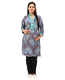 Mamma's Maternity Three Fourth Sleeves Nursing Kurti - Green Blue