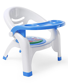 Plastic Chair With Removable Tray - White & Blue